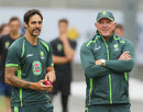 Mitchell Johnson and Craig McDermott at a training session, Melbourne, December 23, 2013