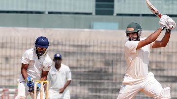 Rajesh Bishnoi cuts during his half-century