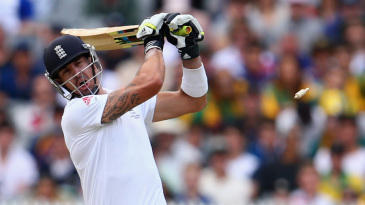 Kevin Pietersen heaved across the line against Mitchell Johnson