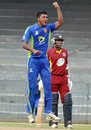 Charith Jayampathi celebrates a wicket, SSC v NCC, Premier Limited Overs Tournament final, December 28, 2013