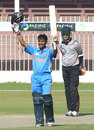 Akhil Herwadkar raises his bat after scoring a century, United Arab Emirates Under-19s v India Under-19s, Under-19 Asia Cup, Sharjah, December 28, 2013