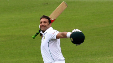 Jacques Kallis celebrates a century in his last Test