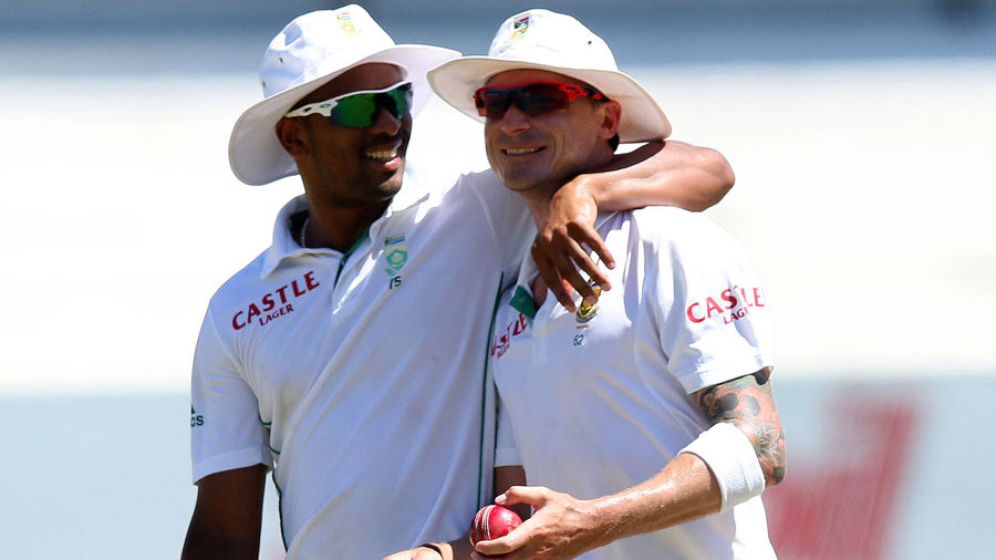 Vernon Philander and Dale Steyn share a laugh after India are bowled out