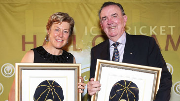 Debbie Hockley and Bob Simpson at the ICC's Hall of Fame Induction