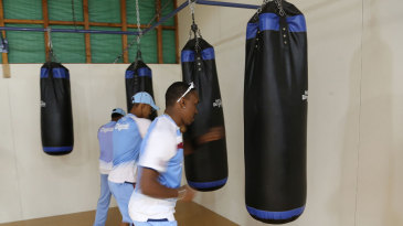Dwayne Bravo and his team-mates warm up using punching bags