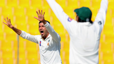 Junaid Khan appeals unsuccessfully for a wicket