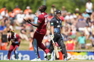 Three catches were dropped off Jason Holder's bowling, New Zealand v West Indies, 4th ODI, Nelson, January 4, 2014