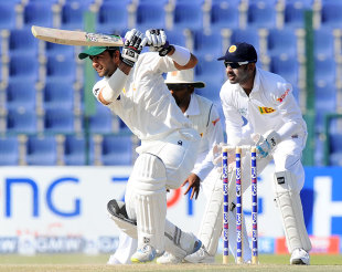 Ahmed Shehzad drives through the off side, Pakistan v Sri Lanka, 1st Test, Abu Dhabi, 5th day, January 4, 2014