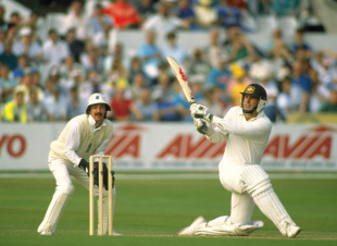 Mark Taylor sweeps on his way to 219, England v Australia, 5th Test, Trent Bridge, 1st day, August 10, 1989
