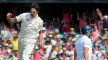 The familiar leap from Mitchell Johnson as he bags another wicket