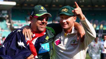 Darren Lehmann and Michael Clarke share smiles