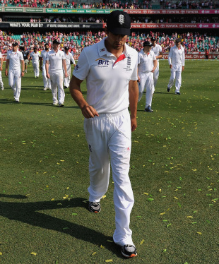 Bowed and beaten: Alastair Cook leads England around the outfield after their horror tour ended 5-0