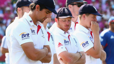 Alastair Cook's head is bowed during the presentations