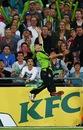 Cameron Borgas jumps in vain to catch the ball, Sydney Thunder v Brisbane Heat, Big Bash League, Sydney, January 8, 2014