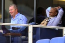 Sri Lanka's next coach Paul Farbrace and head selector Sanath Jayasuriya watch the game, Pakistan v Sri Lanka, 2nd Test, Dubai, 2nd day, January 9, 2014