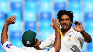 Rahat Ali celebrates after dismissing Angelo Mathews