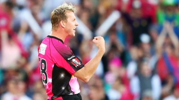 Brett Lee celebrates one of his four wickets