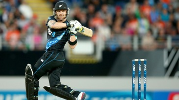 Brendon McCullum guides one behind the stumps
