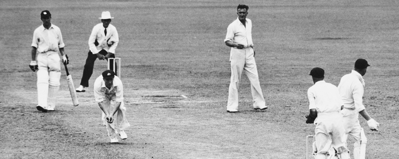 Sam Loxton takes a catch to dismiss Freddie Brown off the bowling of Jack Iverson