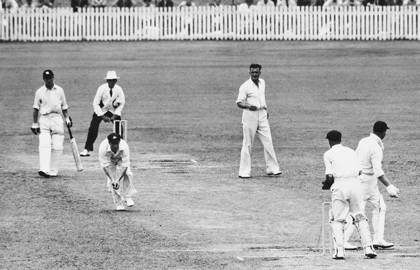Sam Loxton takes a catch to dismiss Freddie Brown off Jack Iverson in the 1950-51 Ashes Test