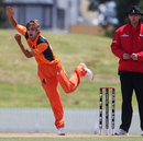 Michael Rippon in his bowling stride, Netherlands v Uganda, World Cup 2015 qualifiers, Group B, Mount Maungunai, January 13, 2014