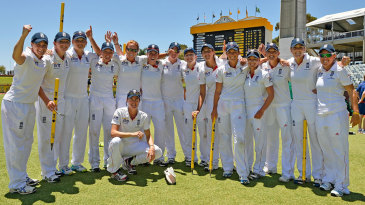 The England team in good spirits after their 61-run win over Australia