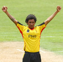 Raymond Haoda celebrates a wicket, Kenya v Papua New Guinea, World Cup 2015 Qualifiers, New Plymouth, January 13, 2014