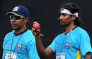 Chaminda Vaas and Nuwan Pradeep at a training session, Sharjah, January 14, 2014