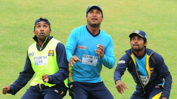 Mahela Jaywardene, Kumar Sangakkara and Kaushal Silva keep their eyes on the ball