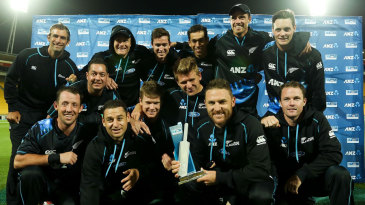 The New Zealand team with the T20 series trophy