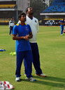 Wriddhiman Saha and Shib Shankar Paul at Bengal's practice session, Bengal v Maharashtra, Ranji Trophy 2013-14, semi-final, Indore, January 17, 2014