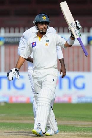 Ahmed Shehzad reached 50 off 150 balls, Pakistan v Sri Lanka, 3rd Test, Sharjah, 3rd day, January 18, 2014