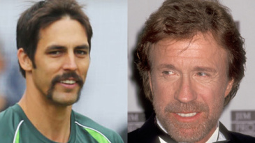 Composite: Mitchell Johnson and Chuck Norris