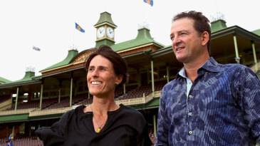 Mark Waugh and Belinda Clark pose during the 2014 Australian Cricket Hall of Fame announcement