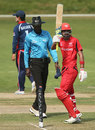 Waqas Barkat raises his bat after scoring fifty, Hong Kong v Nepal, ICC World Cup 2015 Qualifier, Group A, Rangiora, January 19, 2014