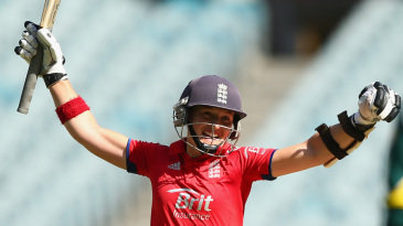 Arran Brindle celebrates England's winning runs