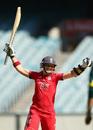 Arran Brindle celebrates England's winning runs, Australia v England, 1st ODI, Melbourne, January 19, 2014