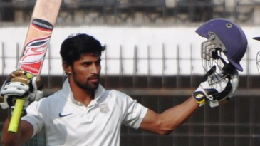 Sangram Atitkar celebrates his fourth first-class hundred