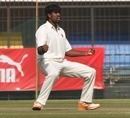 Domnic Joseph exults after dismissing Sandipan Das, Bengal v Maharashtra, Ranji Trophy, semi-final, Indore, 3rd day, January 20, 2014