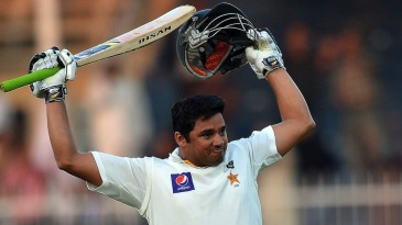 Azhar Ali celebrates his fifth Test hundred