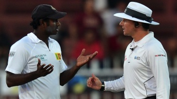 A worried Angelo Mathews has a word with Richard Kettleborough