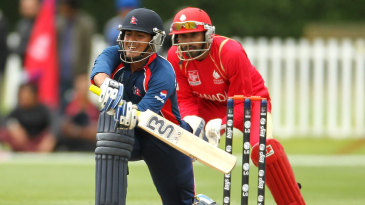 Gyanendra Malla sets up for a shot