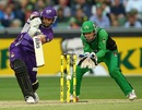 Travis Birt drives during his 23-ball 31, Melbourne Stars v Hobart Hurricanes, Big Bash League, Melbourne, January 21, 2014