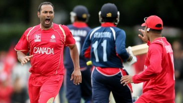 Khurram Chohan is pumped up after a wicket