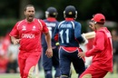 Khurram Chohan is pumped up after a wicket, Canada v Nepal, ICC World Cup Qualifier, Group A, Christchurch, January 21, 2014