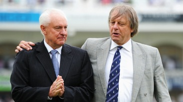 Cricket Australia chairman Wally Edwards with ECB chairman Giles Clarke