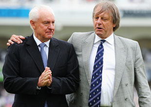 Cricket Australia chairman Wally Edwards with ECB chairman Giles Clarke, first Test, England v Australia, Nottingham, July 10, 2013