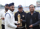 Jiwanjot Singh receives an award for topping the run-charts last season, Punjab v Karnataka, Ranji Trophy semi-final, 4th day, Mohali, January 21, 2014