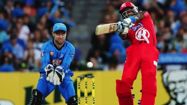 Dwayne Bravo whacks the ball to the off side