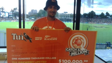 Jatinder Singh won $100,000 for taking a catch